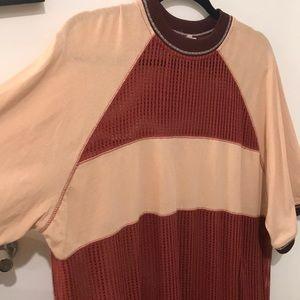 Rad half mesh material shirt